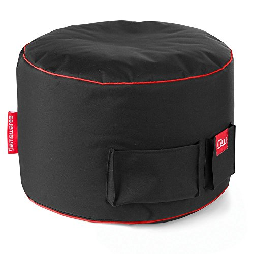 GAMEWAREZ Crimson Station 2.0 mit Rotem Keder, Sitzhocker/Fußbank für Crimson Thunder Gaming Sitzsack, Made in Germany