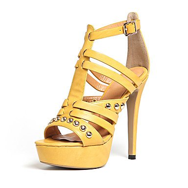 Enochx sandali da donna estate Club scarpe Gladiator Leatherette Office & carriera party & sera Abito casual tacco a spillo rivetto fibbia Yellow