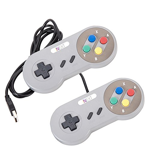 Price comparison product image iNNEXT 2 Pack SNES USB Retro Controller with Nintendo Game Controller Joypad for Windows PC Mac