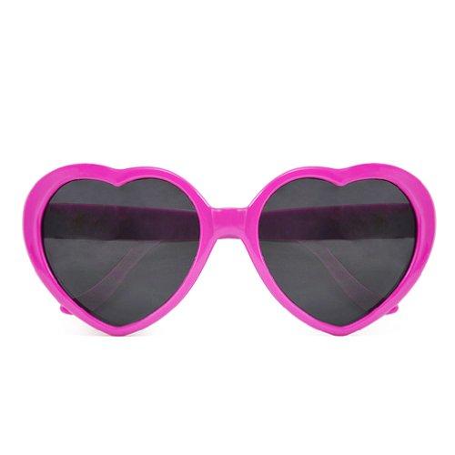 (SODIAL (R) Fashion Nette Retro Liebe-Herz-Form Lolita Sonnenbrille Abendkleid-Partei HOT - Rose rot)