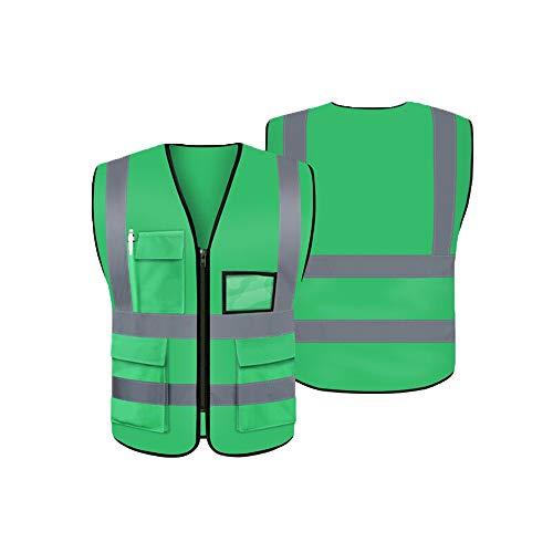 LUOSFUH Grün Waschbare Reflektierende Sicherheitsweste Warnweste Schutzweste Schutzweste für den Außenbereich, 2XL