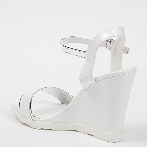 Ideal-Shoes Sandali sovrapposizione e compensate con flangia Lalitha, colore: argento Bianco (bianco)