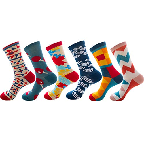 5391b75703cd Men'S Dress Colorful Fancy Novelty Funny Casual Cotton Crew Socks 6 Pack