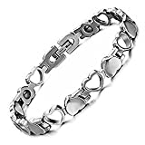 Starista Titanium Womens Magnetic Therapy Bracelet Heart Hollow Germanium Balance Wristband Christmas Gifts Valentines Gifts