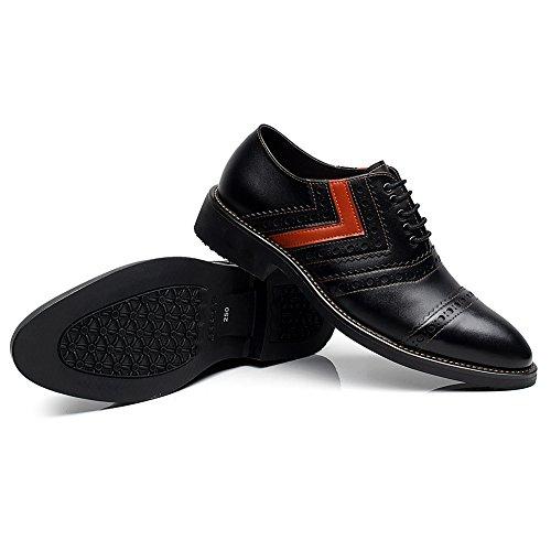 Rismart Nouvellement Hommes Tenue Chaussures en Cuir Oxfords Branché Européen Lacer Brogues Orange