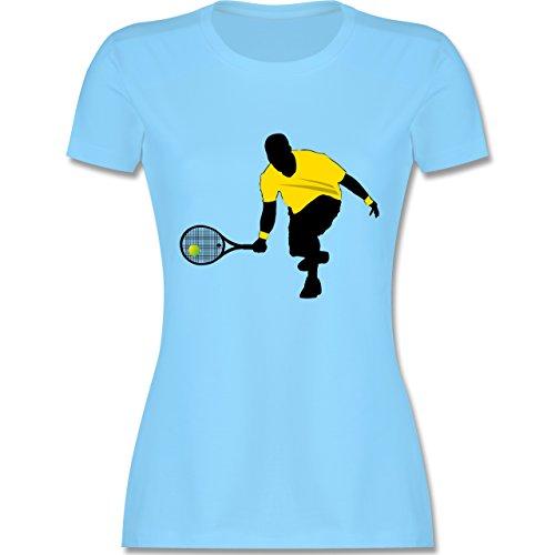 Tennis - Tennis Squash Kniend - tailliertes Premium T-Shirt mit Rundhalsausschnitt für Damen Hellblau