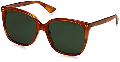 Gucci Damen GG0022S 002 Sonnenbrille, Braun (Avana/Green), 57