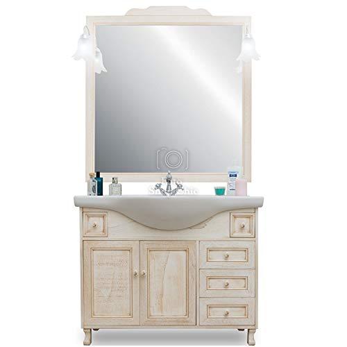 Shop chic mobile arredo bagno classico avorio decape' vintage 105 cm lavabo in ceramica
