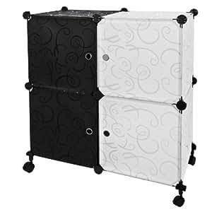 Sobuy fss15 diy 4 cubes roulantes etag re de rangement for Cube de rangement modulable fly
