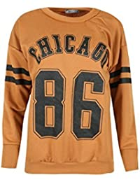 Ladies Chicago 86 Oversized Round Neck Top Full Stripe Sleeves Womens Casual Jumper Sports Sweatshirt