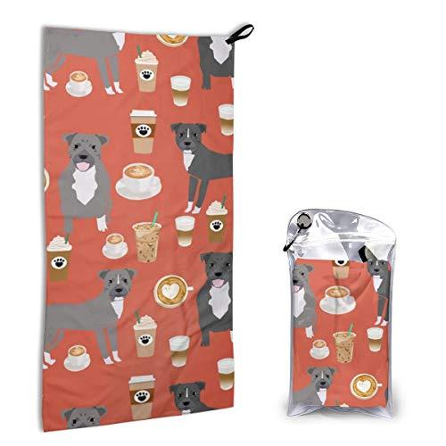 Quick Dry Microfiber Towel Pitbull Grey Coat Coffee Latte Cafe Dog Breed Red Orange for Beach Travel Swim Camping 15.7