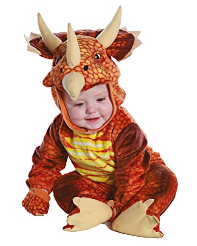 Horror-Shop Rotes Triceratops Dinosaurier Faschingskostüm für Kleinkinder & Babys L