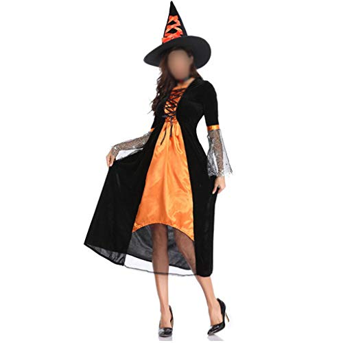 ZHFEL Halloween Hexe Kostüm, Karnevalsnacht Rollenspiel Bühne Leistung Kostüm Hut Teufel Maskerade Zum Erwachsener Frauen-M-Orange (Bezaubernd Hexe Für Erwachsene Kostüm)