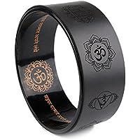 A-Flower Rueda de yoga Rueda de ejercicio Dharma 32 x 12,5 cm para estirar más profundo con correa y guía de instrucciones (Negro)