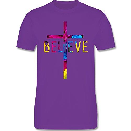 Statement Shirts - Believe Flowers - Herren Premium T-Shirt Lila