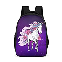 Dofeely Unicorn Pattern School Backpack Ergonomic School Bag Backpack Girls Boys Daypack Functional Backpack for More Storage Space 32 x 18 x 42 cm