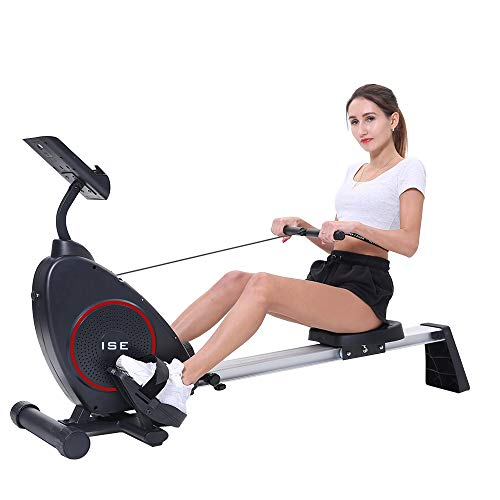 ISE Rameur d'appartement Rameur à air Pliable Appareil de Fitness Musculation Cardio Training Compatible avec Application Smartphone (SY-15002)