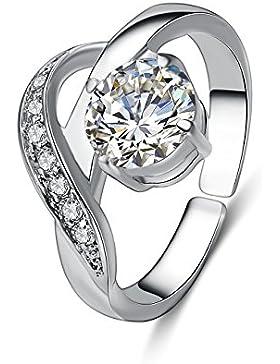 EManco Sparkle Solitaire Ringe Versprechen Cubic Zirconia Strass Einstellbare Design Infinity Love Charm Paar...