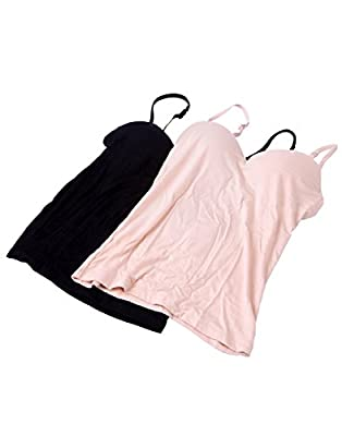 HDE 2-Pack Women's Padded Built-in Bra Sweetheart Neck Camisole Tank Top with Adjustable Straps