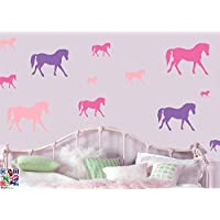 HORSES MULTIPACK - Pack of 16 - Repositionable Wall Art Vinyl Printed Stickers - EASY PEEL & STICK