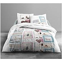 Today 016006Enjoy Home Pastel Juego de funda nórdica/2fundas de almohada de algodón blanco/azul/rosa 240x 260cm