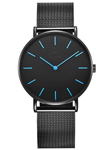 Alienwork Herren Damen Armbanduhr Quarz schwarz mit Metall Mesh Armband Edelstahl hellblau Ultra-flach Slim-Uhr