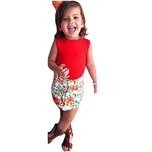 Amlaiworld Kinder Mädchen solide ärmellose Tops + kurzer Floral Rock Outfits Kleidung 1Set (100, Rot) -
