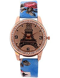 Zillion Eiffel Tower Print Diamond Studded Dial Sky Blue Printed Strap Analog Watch For Women, Girls