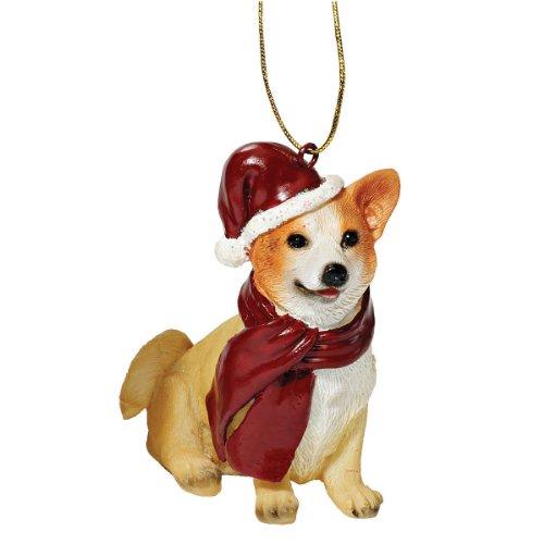 Image of Design Toscano Holiday Dog Ornament Sculpture - Welsh Corgi