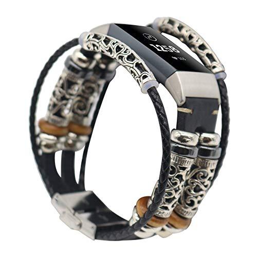 Vamoro Ersatzarmband mit Lederarmband für Fitbit Charge 3 Vintage Uhrenarmband Armband Premium Uhrenarmband(Schwarz)