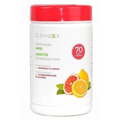 cleanzex 100% Baumwolle CPAP Maske Feuchttücher Lemon Duft mit Grapefruit, 70Tücher