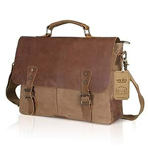 Lifewit Vintage Messenger Bag 15,6 Zoll Umhängetasche Aktentasche Schultertasche Laptoptasche Notebooktasche aus Canvas und Leder Kaffee