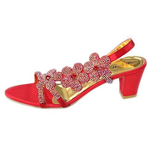 W & W femmes Mesdames Soirée Bloc Talon Sandales Parti Prom de mariage mariée chaussures taille, or, rouge, royal, bleu, violet (san1011) Rouge - rouge