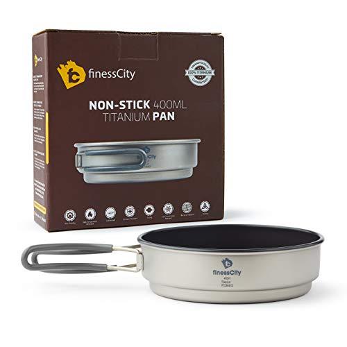 Non-Stick 1.2L & 800ml Titan-Topf und 400ml Antihaft-Titanpfanne, starker leichter Outdoor-Camping-Kochgeschirr Pot & Pan-Verwirrungssatz für Reisen, die Camping im Stoffkoffer wandern (400ml Pan)
