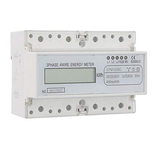 3 Phase KWh Meter, 220 / 380V 20-80A Energieverbrauch Digitaler Stromzähler 3 Phase KWh Meter mit LCD