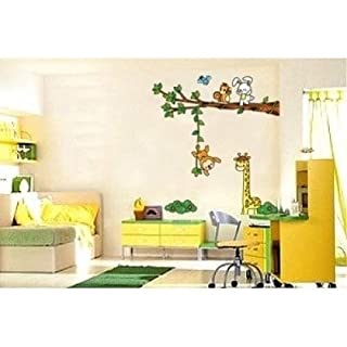 Childrens Room Wall Stickers Jungle Animals Fun, Nursery Stickers, Animal Wall Paper Stickers