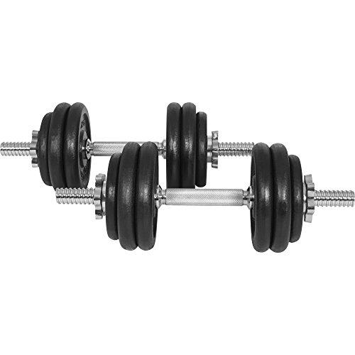 GYRONETICS Kurzhantel 2er-Set 30 kg Gusseisen 25 mm Chrom - Hantelstangen, Gewichtscheiben und Sternverschlüsse gerändelt (Kurzhantel-set Chrom -)