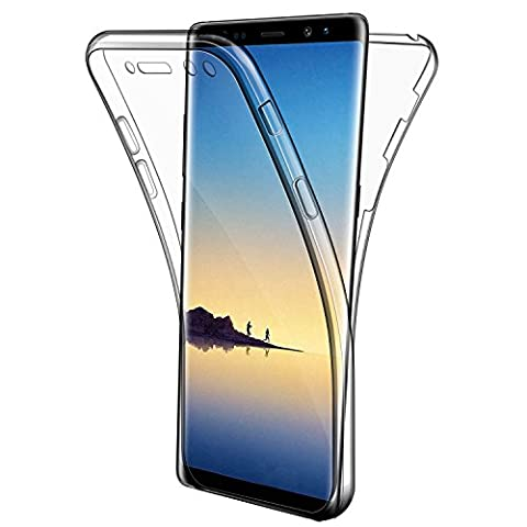 Coque Galaxy Note 8 Etui, Leathlux Silicone Gel Case Avant et Arrière Intégral Full Protection Cover Transparent TPU Housse Anti-rayures pour Samsung Galaxy Note 8 6.3