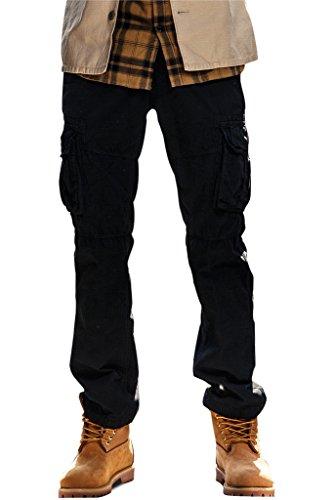 254a577f3dcd Herren Cargo Stoff Hose , 5 Farben, Arbeitshose Designer Chino Regular Fit  von INFLATION Schwarz