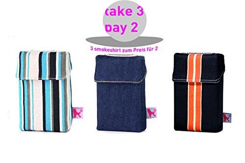 smokeshirt regular versch. 3er Sets Angebot. Designer Zigaretten-etui Zigaretten-box Hülle für Zigarettenschachteln (20Zigar.) 3 zum Preis für 2 (Sixties, Dark Blue, Energy)