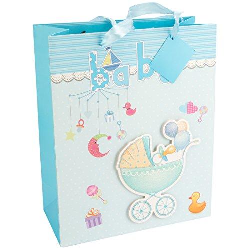 LEVIVO Baby 3D- Design 1, Hellblau Geschenktasche, Pappe, Blau, 26 x 12 x 32 cm