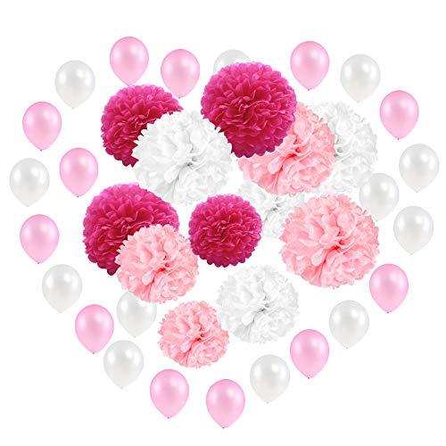 Kesote 12x Pompoms Seidenpapier Pompons Papier Blumen und 24x Ballons Hochzeit Deko Rosa Weiß, 30/25/20 cm (Decke Der Weihnachten Kugeln Von Hängen)