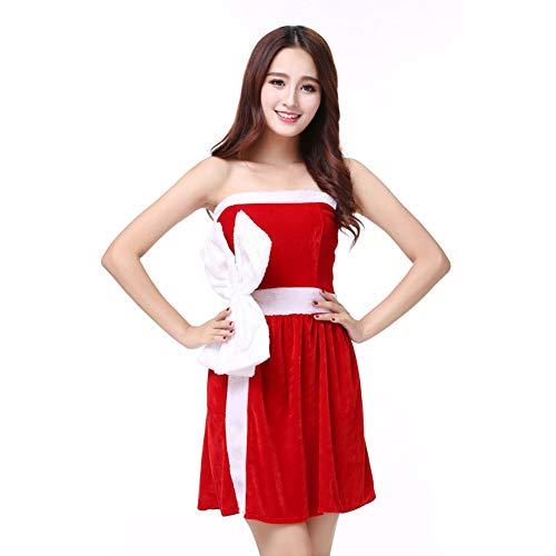 Weiblichen Für Erwachsenen Kostüm Sexy - CVCCV sexy Weihnachten kostüm Erwachsene weibliche Cosplay bar Nachtclub ds führen Tanz Leistung kostüm rot Baumwollgewebe