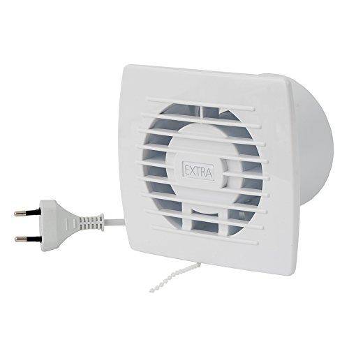 Ventilator Lüfter Badlüfter Wandlüfter Bad-Lüfter für WC Bad oder Küche Zugschalter mit Stecker weiss Ø 100 mm Durchmesser [WP] - Badezimmer-ventilator-lichtschalter
