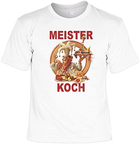 Witziges Spaß-Shirt + gratis Fun-Urkunde: Meister Koch Weiß