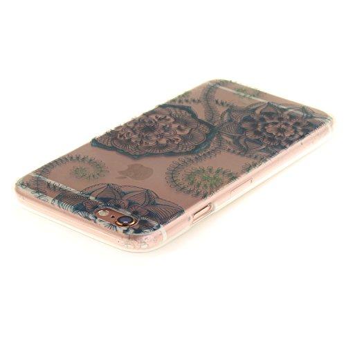 Pour iPhone 6 6S (4,7 Zoll) Coque,Ecoway Housse étui Flexible protection en TPU Silicone Shell Housse Coque étui creux Slim Case Cover Cuir Etui Housse de Protection Coque Étui iPhone 6 6S (4,7 Zoll)  Bleu et fleurs vertes rêve
