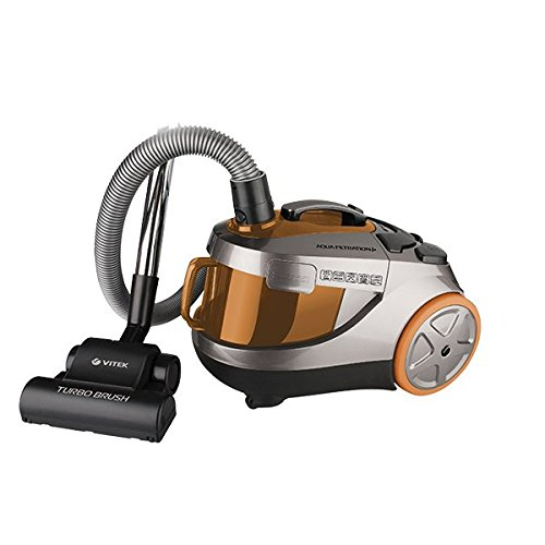 VITEK 1800W with Suction Power 400W Wet and Dry Bagless Cyclonic and Aqua HEPA Filtration Vacuum Cleaner, Medium(Orange, Brown and Black)