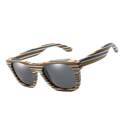 SM SunniMix Vintage Bambus Sonnenbrille Polarisiert Sonnenbrille Bambus Damen Herren Sonnebrille...