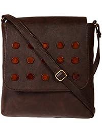 Zapatoz Women's Plain Brown Leatherite Sling Bag (Sling-03-Brown)