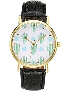 JSDDE Uhren,Cute Kaktus Kakteengewächse Design Armbanduhr Damen Schöne Mode Design PU Leder Analog Quarz Vogue...
